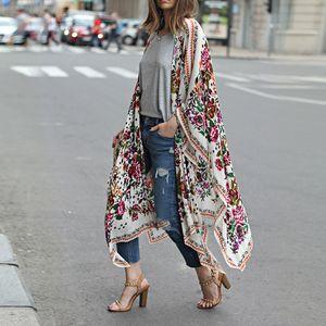 Super Wert-Frauen-Oberteile&Bluse&Kimono&Cardigan-Floral&Boho&Chiffon,Farbe: Bunt,Größe:M