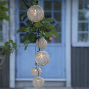 LED Solar Lichterkette Festival - warmweiße LED - 10 beige Lampions - L: 2,70m - outdoor