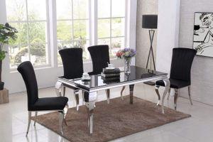 Saphir Barock Esstisch - Schwarze Glasplatte - 220 cm x 110 cm x 75 cm