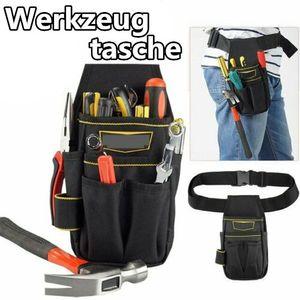 Miixia Schwarz Werkzeugtasche Handwerker Heimwerker Gürteltasche Arbeitstasche+Hüftgurt