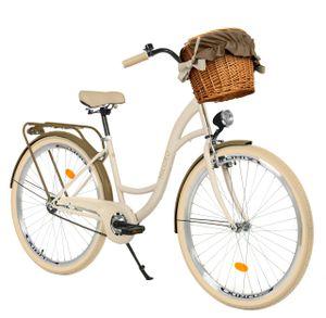 Milord Komfort Fahrrad Mit Weidenkorb Damenfahrrad, 28 Zoll, Creme-Braun, 3 Gang Shimano