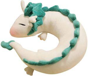 Anime Cute White Dragon Nackenkissen U-Förmigen Travel Pillow-Puppe Plüschtier White Dragon Nackenkissen, Weichem Plüsch Drache Gefüllte Puppe