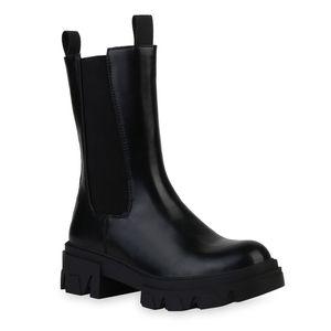 VAN HILL Damen Plateaustiefel Stiefel Blockabsatz Profil-Sohle Schuhe 836404, Farbe: Schwarz, Größe: 39