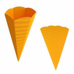 Creleo - Schultüte gelb aus 3D Wellpappe 68cm 1 Stück - Zuckertüte als Rohling zum basteln, bemalen und bekleben