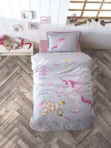 Kinder Bettwäsche 135x200 cm, Unicorn, Einhorn, 100% Baumwolle, Mit Reißverschluss