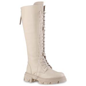 VAN HILL Damen Schnürstiefel Stiefel Plateau Vorne Profil-Sohle Schuhe 837870, Farbe: Beige, Größe: 38