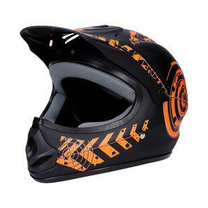 Motorradhelm Schwarz-Orange Matt 61-62 Quad Damen Herren Rollerhelm Cross Enduro