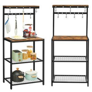 VASAGLE Küchenregal, Standregal mit Ablagen, 60 x 40 x 138 cm, Mikrowellenregal mit 7 Haken und Metallrahmen, Industrie-Design, vintagebraun-schwarz KKS021B01