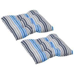 Outsunny 2er-Set Sitzkissen Stuhlkissen Sitzauflage Gartenstuhlkissen leicht zu reinigen Blau gestreift 50L x 45B x 8T cm