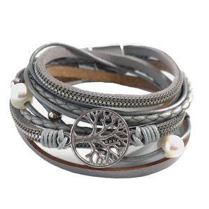 Niklarson Armband Lebensbaum Wickelarmband hellgrau Magnetverschluß Perlen A729