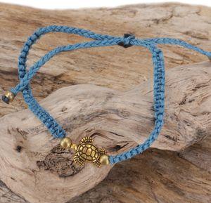Ethno Schildkröten Perlenarmband, Makramee Armband - Hellblau, Armreifen & Armbänder Modeschmuck