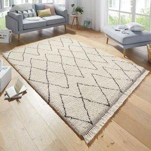 Design Teppich Hochflor Jade Creme mit Fransen, Größe:200x290 cm