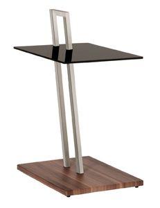 Haku Beistelltisch , Edelstahloptik-nußbaum - Maße: 35 cm x 45 cm x 67 cm; 89850