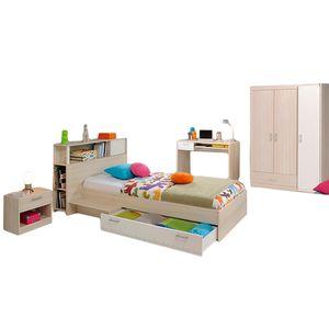 Kinderzimmer Charly 4-tlg Akazie beige / weiß Schreibtisch + Kinderbett inkl  inkl. Kopfteil(regal) + Bettkasten + Nachtkommode + Kleiderschrank Kinderzimmer