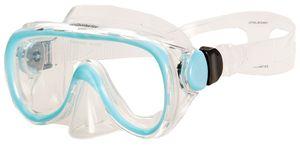 AQUAZON DOLPHIN Junior Medium Schnorchelbrille, Taucherbrille, Schwimmbrille, Tauchmaske für Kinder, Jugendliche von 7-14 Jahren, Tempered Glas, sehr robust, tolle Passform , Farbe:blau Junior
