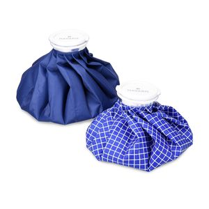 Navaris Kühlbeutel & Wärmflasche Set - 2 Größen warm und kalt - Kühlpads Eisbeutel Kältetherapie - Kühlkissen Blau Blau-Weiß