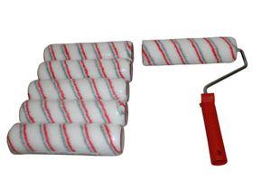 7-tlg. Farbroller-Malerset 6 x Farbwalzen Malerwalzen 48 x 230 mm + Malerbügel + Gratis Cuttermesser