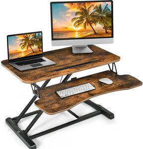 Hoehenverstellbarer Sitz-Steh-Schreibtisch, Ergonomischer Schreibtischaufsatz mit Tastaturablage, Steharbeitsplatz, Stehpult für Computerbildschirm Laptop, Ideal für Homeoffice (Braun)