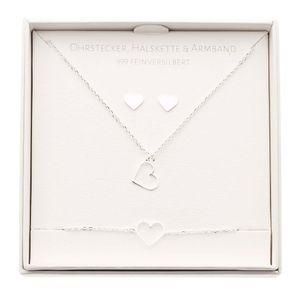 Geschenkset - Halskette-Armband-Ohrstecker - feinversilbert - Herz