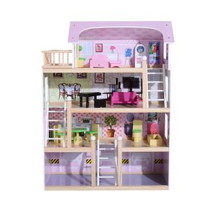 HOMCOM Kinder Puppenhaus Puppenstube Barbiehaus Dollhouse 4 Etagen Holz mit Möbeln