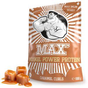 Eiweißpulver für Muskelaufbau | Whey-Protein Pulver & Abnehmen | Proteinpulver Whey | Eiweiß-Shake für Muskelaufbau und Fitness | Eiweiß Shake von MAX MUSKEL POWER PROTEIN (Karamell 1kg)