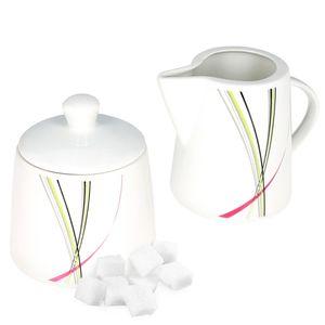 Fashion Zuckerdose & Milchkännchen Set Milchkännchen Gießer Porzellan Streifen