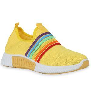Mytrendshoe Damen Sportschuhe Slip Ons Strick-Optik Profilsohle Sportlich 834552, Farbe: Gelb, Größe: 39