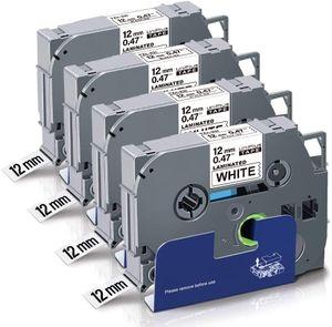UniPlus Kompatibel für Brother P-Touch TZe 12mm TZe-231 TZe231 TZ-231 Laminiertes Schriftband für Brother P-Touch PT Cube H100LB H110 H105 H107B H101C E110 1000 1010, Schwarz auf Weiß, 4er-Pack