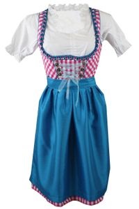 1-teiliges Midi-Dirndl Landhaus Kleid ohne Bluse Dirndel Pink kariert, Größe:42