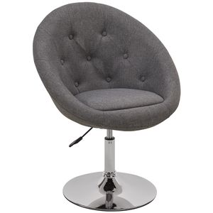 Duhome Esszimmerstuhl Clubsessel Lounge Sessel Cocktailsessel Stoff Leinen Grau Metallbeine