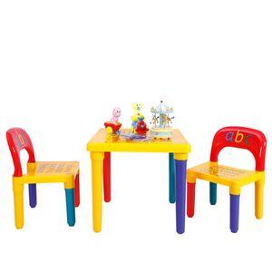 COSTWAY 3tlg. Kindersitzgruppe Kindermoebel Kindertisch mit 2 Kinderstuehlen