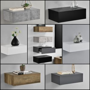 [en.casa]® Wandregal mit Schublade - Beton-Optik - Nachttisch, Nachtschrank - 46x30x15cm - Belastbarkeit bis ca. 15 kg