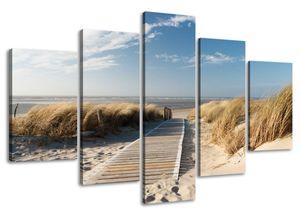 160 x 80 cm Bild auf Leinwand Nordsee Ostsee See 5517-SCT deutsche Marke und Lager  -  Die Bilder / das Wandbild / der Kunstdruck ist fertig gerahmt