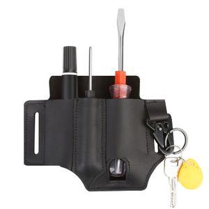 Ledertasche Organizer Multitool-Hülle mit Stifthalter Schlüsselanhänger Taschenlampentasche für Herren Gürtel