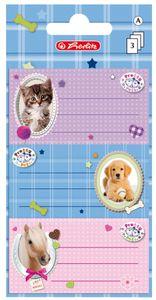 Herlitz Buchetiketten Pretty Pets 78 x 42 mm 3 Blatt à 3 Etiketten