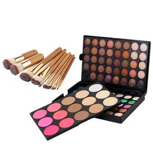 95 Farben Matte  Glitter Lidschatten Blush Contour Concealer Gesichtspuder Palette + 9 Pcs Bambus Make Up Pinsel Set