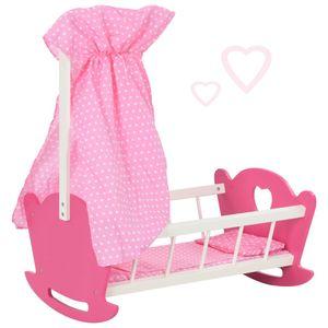 Kinder Geschenke- Puppenbett Etagenbett Stapelbett Bett mit Baldachin MDF 50×34×60 cm Rosa