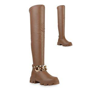 VAN HILL Damen Stiefel Overknees Blockabsatz Ketten Profil-Sohle Schuhe 837785, Farbe: Khaki, Größe: 39