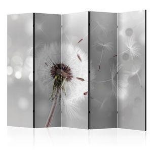 Neuheit! Dekorativer Paravent Raumteiler Trennwand Foto-Paravent Spanische Wand XXL Pusteblumen grau 225x172 cm b-C-0072-z-c