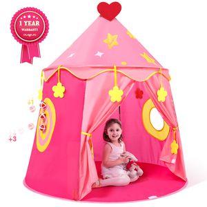 Peradix Kinderzelt Kinderspielzelt Niedliches Netzzelt Babyzelt Rosa Prinzessinzelt Spielzelt Kinder Mesh-Zelt Prinzessin für Kinder Mit Target und 3 Sticky Balls Kreatives Spiel