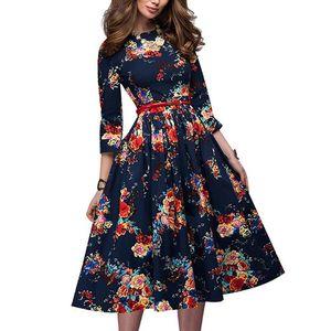 Frauen Elegante Vintage Blumendruck O-Ausschnitt Langarm ausgestellt Midi Partykleid