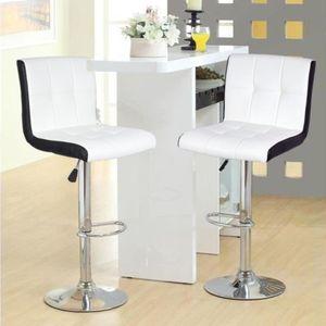2er-Set Barhocker aus Kunstleder, Höhenverstellbar, 360° frei drehbar Weiß-Schwarz