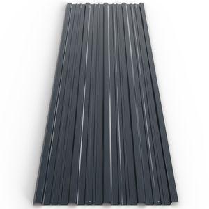 Deuba 12x Trapezblech 129x45cm = 7m² verzinkt Profilblech Dachblech Wellblech Dachplatten Gerätehaus Carport anthrazit