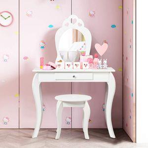 COSTWAY Kinder Schminktisch, Make-up Tisch mit Hocker und abnehmbarem Spiegel, Frisierkommode Holz, Mädchen Frisiertisch mit Schublade 70x34x105cm Weiß