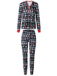 Erwachsene Kinder Baby Weihnachten Familie Matching Pyjamas Set Nachtwäsche Homewear Xmas,Farbe: Mama,Größe:S