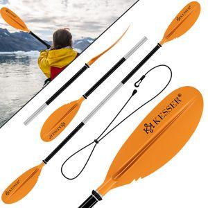 KESSER® Paddle Doppelpaddel - 4-teilig für Kanu Kayak SUP Stand-Up Paddling Board Stechpaddel, 228cm Aluminum Super Leicht für Schlauchboot, Stand Up Paddel Kajakfahren Surfboard Boot, Farbe:Orange