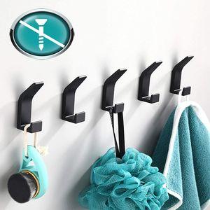 Handtuchhalter ohne bohren Schwarz 5 Stück,Handtuchhaken Wandhaken Kleiderhaken Wand aus Edelstahl
