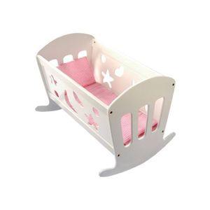 Bino 83699 - Puppenwiege mit Bettwäsche, Puppenbett aus Holz, 49cm 4019359836990