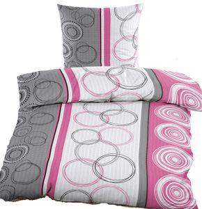 4-tlg. Seersucker Bettwäsche 2x (135x200 +80x80cm), pink weiß grau, Kreise, bügelfrei, Microfaser