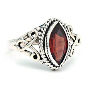 Granat Ring 925 Silber Sterlingsilber Damenring rot (MRI 183-52),  Ringgröße:60 mm / Ø 19.1 mm